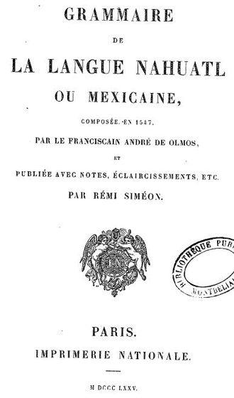 Arte para aprender la lengua mexicana - Siméon's 1875 edition.
