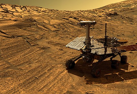 Artist Concept of a NASA Mars Exploration Rover on Mars Opportunity in Endurance Crater (cropped).jpg
