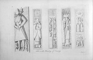 Donald of Islay, Lord of the Isles - 18th century illustration of some of the tombs of Oronsay Priory, founded by Donalds's father John sometime before 1358