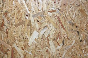 Oriented strand board - OSB is easily identifiable by its characteristic wood strands.