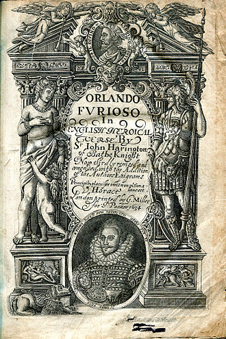 Orlando Furioso - Title page of the third edition of John Harington's translation of Orlando Furioso, 1634. The first edition was 1591