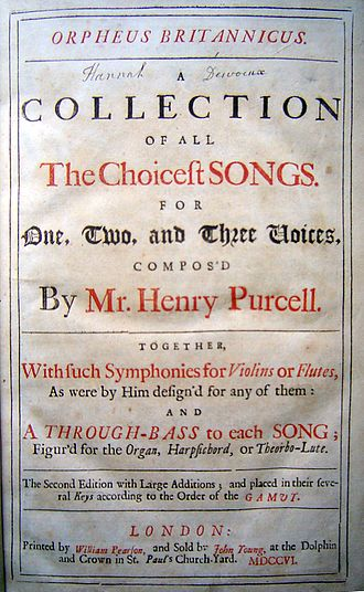 Orpheus Britannicus - Frontispiece of the second edition of volume I, London: William Pearson 1706