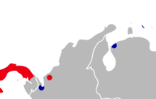 Map of northwestern South America and eastern Panama with red markings in western Panama and northwestern Colombia and blue markings in northwestern Colombia, northwestern Venezuela, and Curaçao.