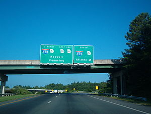 Georgia State Route 20 - Overhead signage for SR 20 and SR140 in Canton