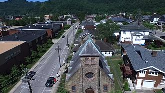 Harlan, Kentucky - Overlooking East Central Street. Harlan High School and Middle School are visible on the left.
