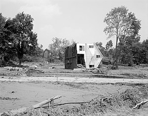 Roseland, Virginia - A home in Roseland which was flipped off of its foundation by Hurricane Camille