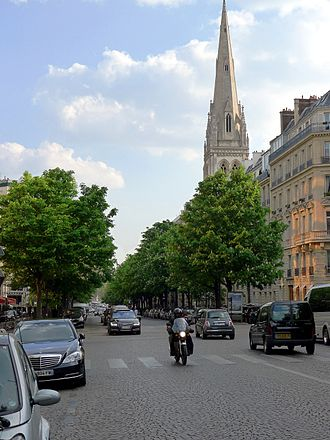 Avenue George V - Avenue George V with the American Cathedral in Paris in the background