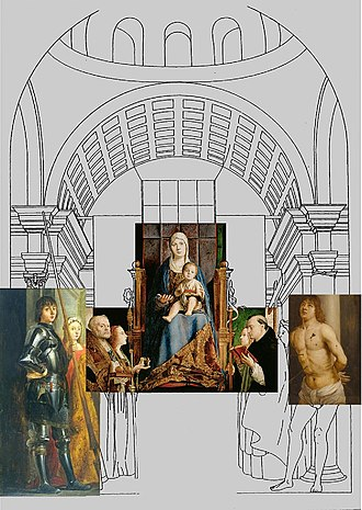 San Cassiano Altarpiece - Reconstruction of the original work with existing fragments and copies of fragments.