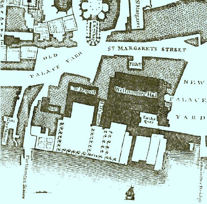Palace of Westminster from Roque's map (1745)