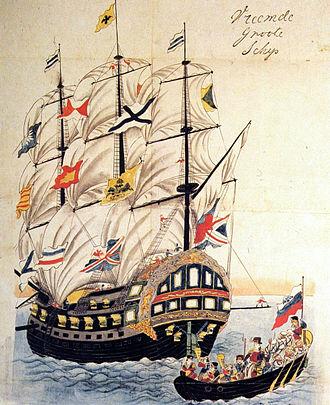 Yevfimiy Putyatin - Pallada in Nagasaki, 1854 Japanese painting.