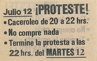 Crisis of 1982 - Pamphlet calling for a protest including a cacerolazo in 1983.
