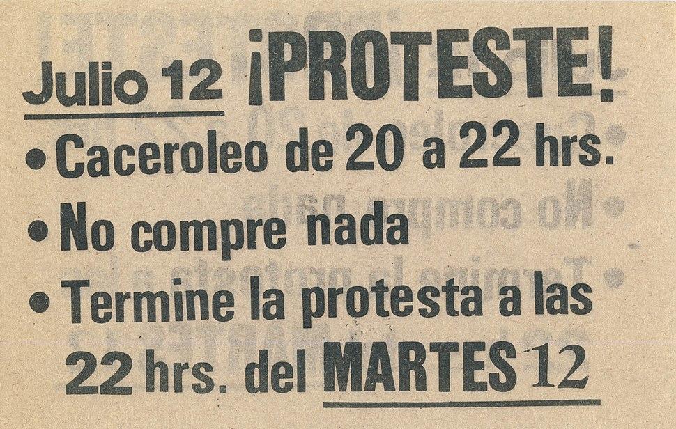 Panfleto Tercera Jornada Protesta Nacional