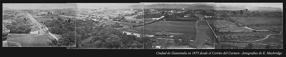 Guatemala City skyline in 1875, by Eadweard Muybridge.
