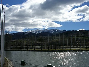Segre Olympic Park - The flatwater canal at the Parc del Segre and the Cadí mountain in the background