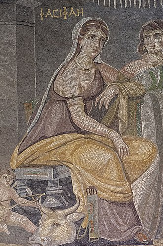 Pasiphaë - Pasiphae sits on a throne, mosaic from Zeugma, Gaziantep Museum .