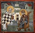 Patriarchate of Pec, St. Nicholas chapel - 17 Nicholas heals Stephen Decani of blindness.jpg