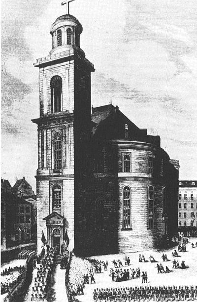 El exterior de la iglesia de San Pablo el día de la primera deliberación.