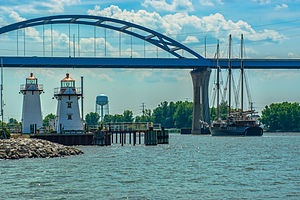 Leo Frigo Memorial Bridge - The Peacemaker sails past the Grassy Island Range Lights toward the Leo Frigo Memorial Bridge on its way into the port of Green Bay