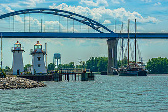 Peacemaker (ship) - Peacemaker sails toward the Leo Frigo Memorial Bridge on her journey into the Port of Green Bay and past the Grassy Island Range Lights.