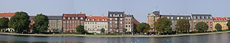 The Lakes, Copenhagen - Panoramic view of the Nørrebro side of Peblinge Lake