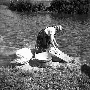 Obrh - Washing clothes in Obrh Creek in 1962