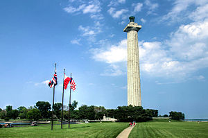 Perry's Victory and International Peace Memorial - Image: Perry Monument and Flags