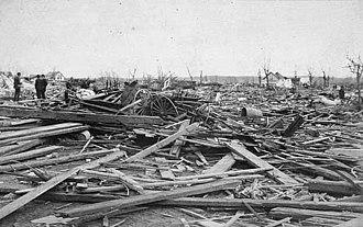 1886 Sauk Rapids tornado - Destruction in Sauk Rapids after the tornado