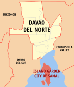Map of Davao del Norte showing the location of Island Garden City of Samal
