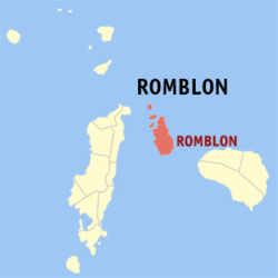 Map of Romblon showing the location of Romblón.