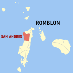 Map of Romblon with San Andres highlighted