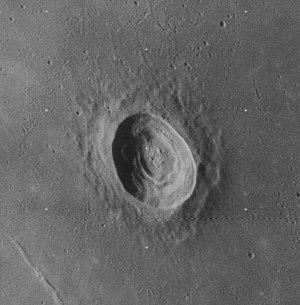 Picard (crater) - Oblique Lunar Orbiter 4 image