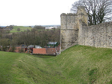 Pickering Castle in England (right), and the counter-castle from the years of the Anarchy (upper left) Pickering Counter castle.jpg