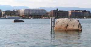 Metres above the Sea (Switzerland) - The Pierres du Niton in Geneva harbour