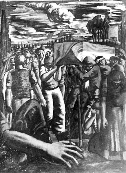 """גן-שמואל-תמונה-""""לוויה בקבוץ"""" 1949"""