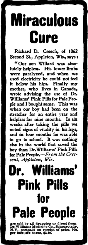 Dr. Williams' Pink Pills for Pale People - Advertisement for Dr. Williams' Pink Pills for Pale People.