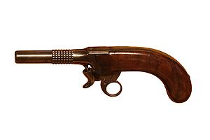 Percussion cap - Inverted percussion pistol, 9.5 mm; made by gunsmith Correvon, Morges, 1854. On display at Morges military museum.