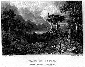 Battle of Plataea - Engraving showing the view of Plataea from Mount Cithaeron by H. W. Williams and William Miller