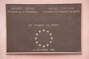 Seat of the European Parliament in Strasbourg - Plaque commemorating the inauguration of the Louise Weiss Building of the European Parliament in Strasbourg on 14 December 1999, by President of France, Jacques Chirac, and President of the European Parliament, Nicole Fontaine.