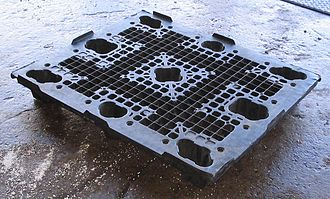 Pallet - A plastic skid with nine legs, which can be lifted from all four sides. This type of transport is commonly called a pallet, but since it has no bottom it is technically a skid.