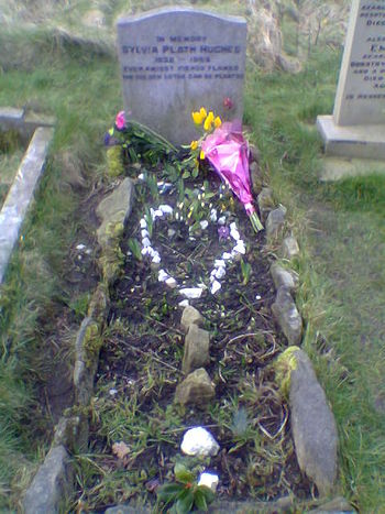 Sylvia Plath's grave at Heptonstall church, We...