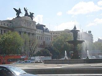 Plaza del Emperador Carlos V - Plaza del Emperador Carlos V, with the Fuente de la Alcachofa in the foreground and the Ministry of Agriculture in the background
