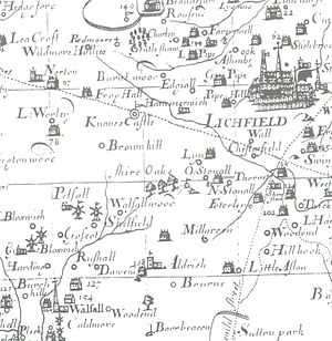 "Brownhills - Robert Plot's 1680 map of Staffordshire shows ""Brownhill""."