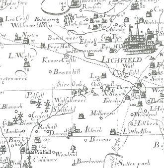"Brownhills - Robert Plot's 1680 map of Staffordshire shows ""Brownhill""."