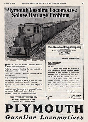 Plymouth Locomotive Works - 1926 ad for the company's gasoline-driven locomotives.