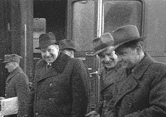 Ferdynand Arczyński - MP Ferdynand Arczyński (2nd from right) and deputy PM Antoni Korzycki (3rd right). March 19, 1948
