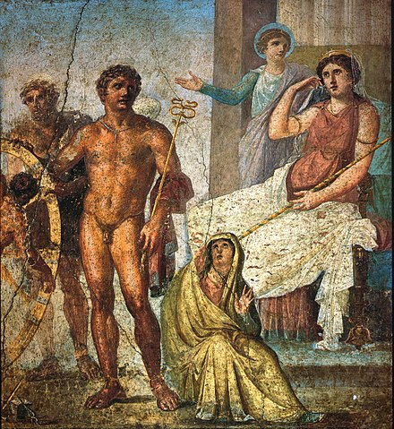 Punishment of Ixion: in the center is Mercury holding the caduceus and on the right Juno sits on her throne. Behind her Iris stands and gestures. On the left is Vulcan (blond figure) standing behind the wheel, manning it, with Ixion already tied to it. Nephele sits at Mercury's feet; a Roman fresco from the eastern wall of the triclinium in the House of the Vettii, Pompeii, Fourth Style (60-79 AD). Pompeii - Casa dei Vettii - Ixion.jpg