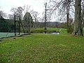 Pond and tennis court at Ty Uchaf - winter - geograph.org.uk - 1639468.jpg