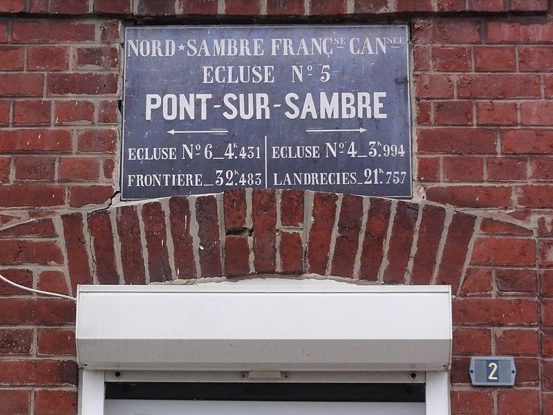 Pont-sur-Sambre (Nord, Fr) plaque Écluse 5