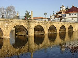 Aquae Flaviae - The Roman bridge of Chaves constructed during the era Vespasian and Trajan