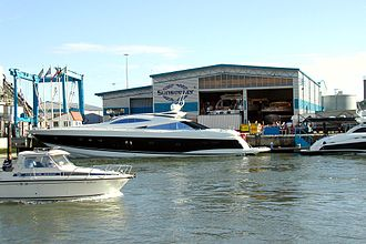 Sunseeker - The Sunseeker factory on the Poole waterfront. The company makes luxury motoryachts, two of which are seen outside. Predator 95/100 is on the left.